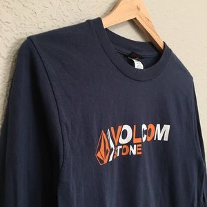 Men's Volcom Long Sleeves T-Shirt Dark Blue Small